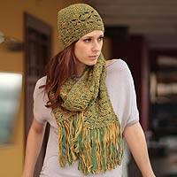 100% alpaca scarf and hat set, 'Green Grass Fans' - 100% alpaca scarf and hat set
