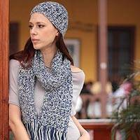 100% alpaca scarf and hat set, 'Sky Blue Fans'