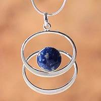 Lapis lazuli pendant necklace, 'Cuddle Me Blue' - Unique Sterling Silver Royal Blue Lapis Lazuli Pendant