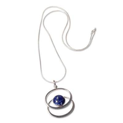 Lapis lazuli pendant necklace, 'Cuddle Me Blue' - Sterling Silver Lapis Lazuli Pendant Necklace