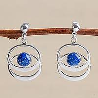 Lapis lazuli dangle earrings, 'Cuddle Me'
