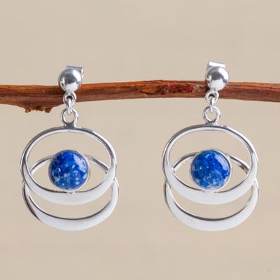 Lapis lazuli dangle earrings, 'Cuddle Me' - Handcrafted Women's Modern Lapis Lazuli Dangle Earrings