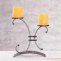 Steel candleholder, 'Close to You' - Fair Trade Metal Candelabra from Peru