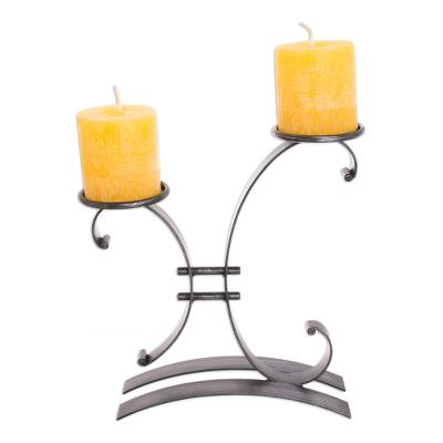 Steel candleholder, 'Close to You' - Hand Made Modern Rustic Steel Candle Holder