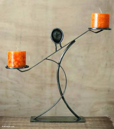 Steel candleholder, 'Sublime Woman' - Modern Abstract Steel Candle Holder