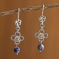 Sodalite dangle earrings, 'Sundance' - Sodalite dangle earrings