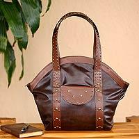 Leather handbag, 'Andean Chic'