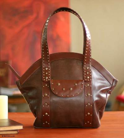 Leather handbag, 'Andean Chic' - Brown Leather Tote Bag Handmade in Peru