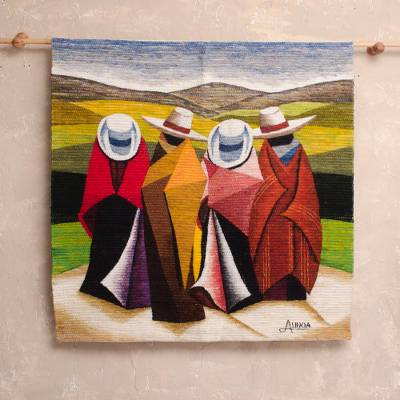 Wool tapestry, 'Peruvian Horse Riders' - Andean Wool Tapestry 3 X 3 Ft Hand Loomed in Peru