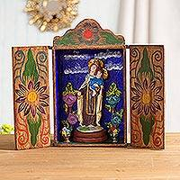 Wood retablo, 'Our Lady of Mount Carmel'