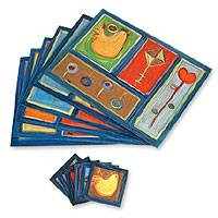 Placemats and coasters, 'Summer Fun' (set for 6) - Hand-Painted Wood Placemat and Coaster Set from Peru