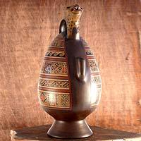 Aged Cuzco vessel, 'Jaguar from Tipon' - Inca Ceramic Vessel Handcrafted Jaguar Vessel Replica