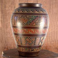 Aged Cuzco vase, 'Water Cult' - Cuzco Prehispanic Style Ceramic Vase