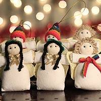 Cotton ornaments, 'Andean Angels of Peace' (set of 6)