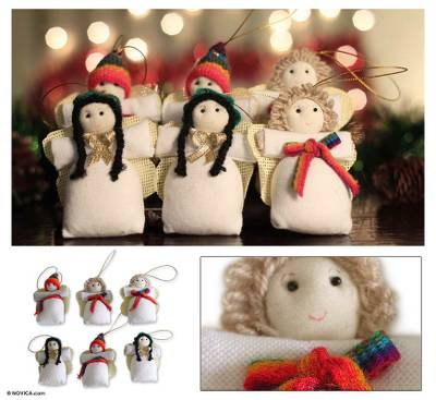 Handmade Angel Christmas Ornaments Set Of 6 Andean Angels Of Peace