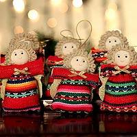 Cotton ornaments, 'Andean Angels' (set of 6) - Cotton ornaments (Set of 6)