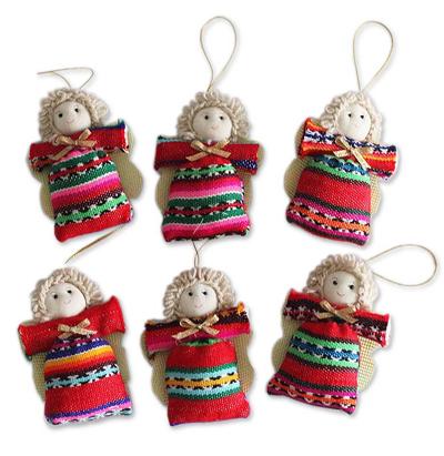 Cotton ornaments, 'Andean Angels' (set of 6) - Cotton ornaments (Set of 6)