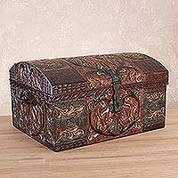 Leather decorative box, 'Autumn Leaves' - Artisan Crafted Leather jewellery Box with Wrought Iron