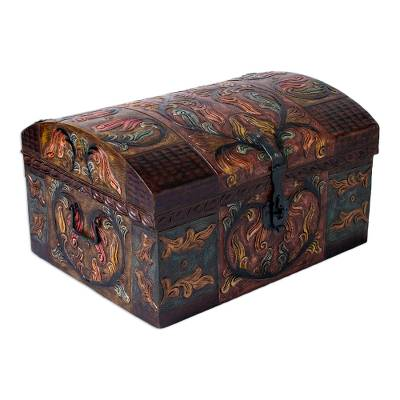 Artisan Crafted Leather Jewelry Box with Wrought Iron