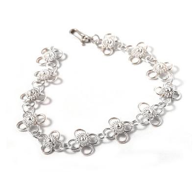 Handcrafted Floral Sterling Silver Link Bracelet