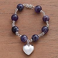 Amethyst bracelet, 'Sincere Heart'
