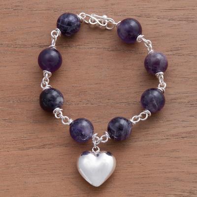 Amethyst bracelet, 'Sincere Heart' - Amethyst and Silver Charm Bracelet