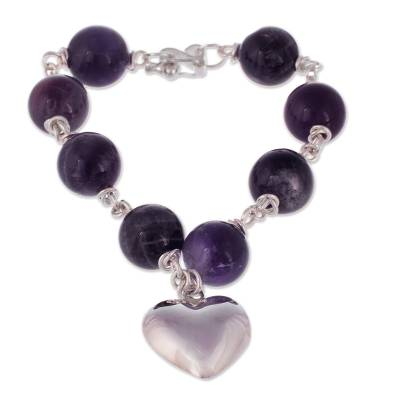 Amethyst and Silver Charm Bracelet