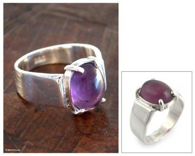 Amethyst solitaire ring, 'Contempo' - Amethyst solitaire ring