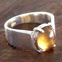 Citrine solitaire ring, 'Contempo' - Citrine and Silver Solitaire Ring