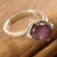 Amethyst solitaire ring, 'Hold Me' - Amethyst solitaire ring
