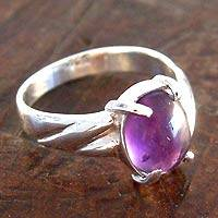Amethyst solitaire ring, 'Sophisticate' - Amethyst solitaire ring