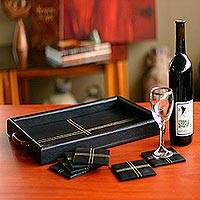 Leather and cedar tray and coaster set, 'Black Tie' (set for 6) - Leather and cedar tray and coaster set (Set for 6)