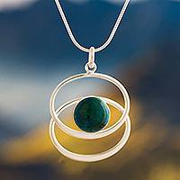 Chrysocolla pendant necklace, 'Cuddle Me Green' - Chrysocolla pendant necklace