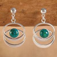 Chrysocolla dangle earrings, 'Cuddle Me Green' - Chrysocolla dangle earrings