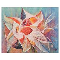 'Cactus Flower' (2007) - Floral Abstract Oil Painting (2007)