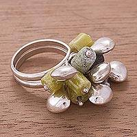 Serpentine cluster ring, 'Raceme' - Fair Trade Serpentine and Silver Beaded Ring