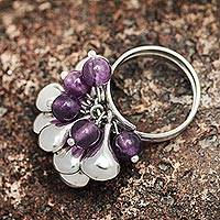 Amethyst cluster ring, 'Cluster' - Hand Crafted Amethyst and Sterling Silver Cluster Ring
