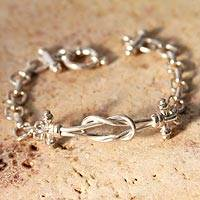 Sterling silver link bracelet, 'Lives Entwined' - Fine Silver Bracelet from the Andes