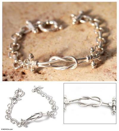 Sterling silver link bracelet, 'Lives Entwined' - Handmade Fine 950 Silver Link Bracelet