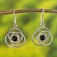 Onyx dangle earrings, 'Floral Orbit' - Onyx  and Sterling Silver Dangle Earrings