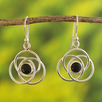 Onyx dangle earrings, 'Floral Orbit' - Onyx dangle earrings