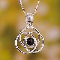 Onyx pendant necklace, 'Floral Orbit' - Modern Sterling Silver Pendant Onyx Necklace