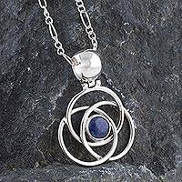 Sodalite pendant necklace, 'Floral Orbit' - Sterling Silver Sodalite Necklace