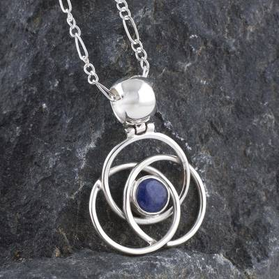 Sodalite pendant necklace, 'Floral Orbit' - Hand Made Peruvian Sterling Silver Pendant Sodalite Necklace