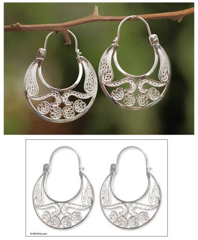 Earrings, 'Half Moon' - Hand Crafted Fine Silver Filigree Earrings