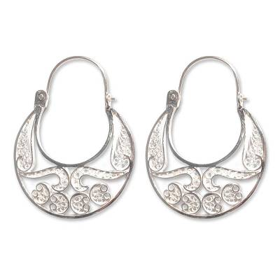Hand Crafted Fine Silver Filigree Earrings