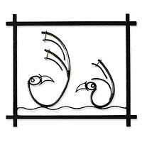 Steel wall art, 'Chancay Birds' - Steel wall art