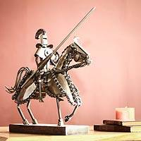 Auto parts sculpture, 'Gallant Knight' - Armored Knight Sculpture of Recycled Motorcycle Parts