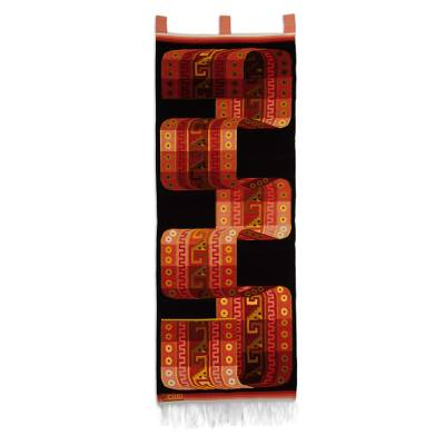 Wool tapestry, 'Inca Belt' - Handcrafted Cultural Wool Tapestry (2x5 Ft)