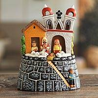 Ceramic nativity scene, 'Bell Tower Christmas' - Ceramic Christmas Nativity Scene Handmade in Peru